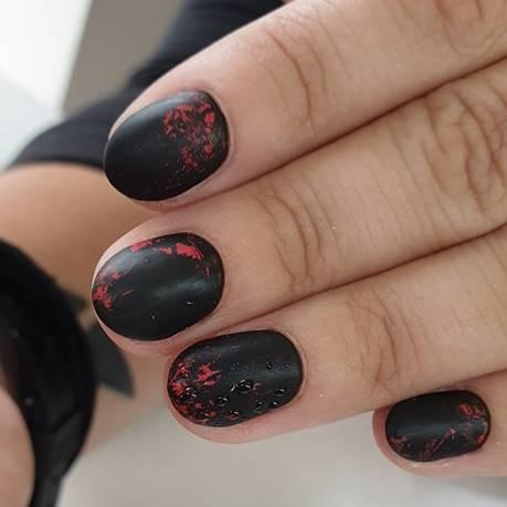 Matowy Manicure Hybrydowy z Taśmą Transferową
